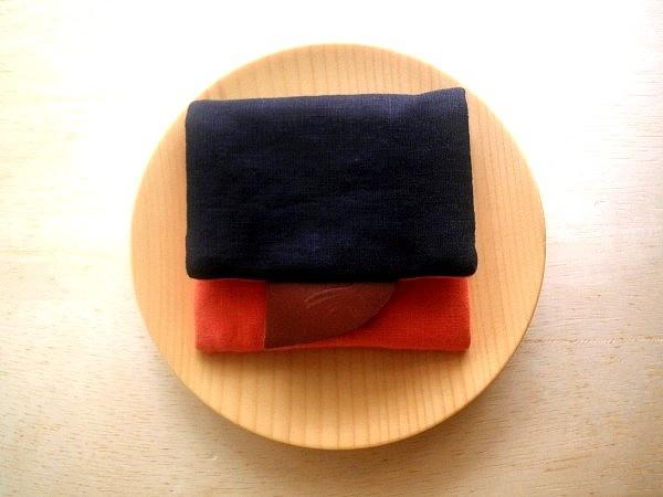 mini purse pouch (navy blue&orange)