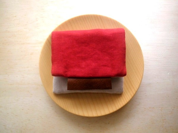 mini purse pouch (red&pink beige)