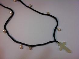 十字架+パール中国結びネックレス