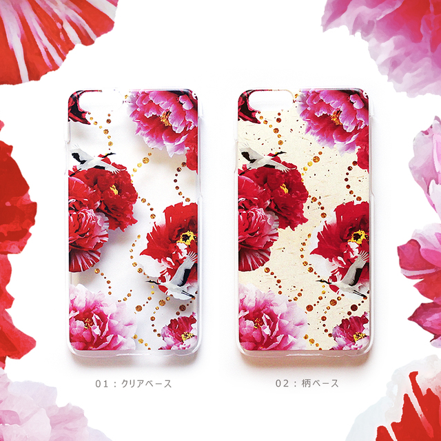 iphone ケース 牡丹と鶴