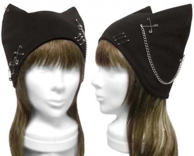 パンク[チェーン&ピンクロス] ネコ耳帽子◆コットンニット/黒