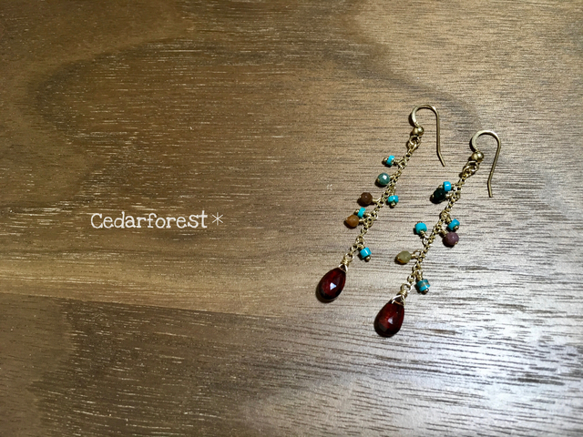 14kgf Native color stone ピアス・イヤ...