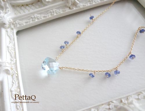 【K14GF】スカイブルートパーズ・ブルーサファイアの贅沢ネックレス