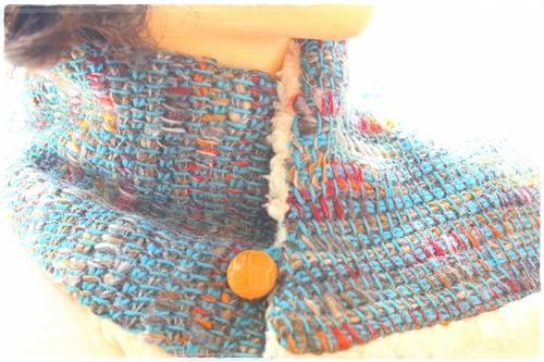 アフガン編みのネックウオーマー