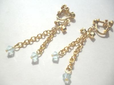 【SALE】スワロフスキー・メタルリボンのイヤリング