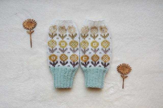 手編みの指なしミトン  【18 Fiori 】黄系