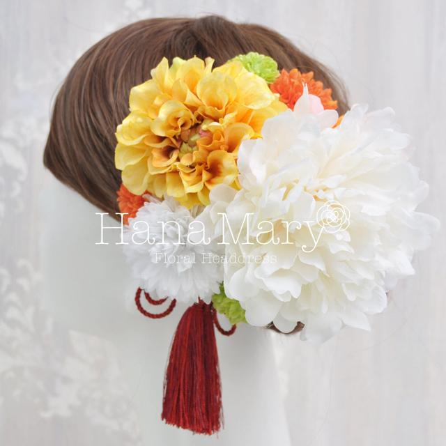 NEWオレンジ ピオニーとダリアの髪飾り