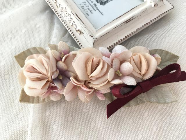 FLORA::バラとスミレのバレッタ Red ribbon