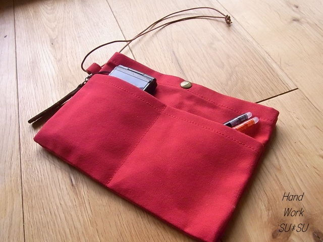 *再販*パラフィン帆布のバッグインバッグ 赤