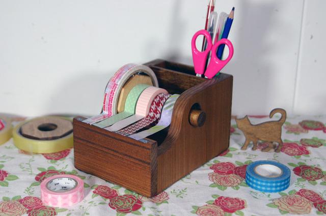 プレゼントにも、セロマスキングテープカッターポケット付き(自然素材のワトコオイル仕上げで安心)
