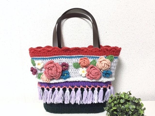 ♪あったかニットのお花かごバッグ No.2♪