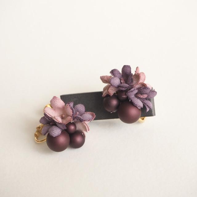 布花イヤリング Lavender Drops