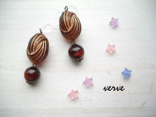 bonbon pierce chocolate 樹脂フックピアス