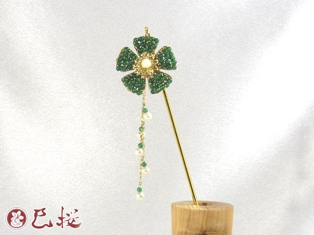 パワーストーンの花かんざし-緑めのう他