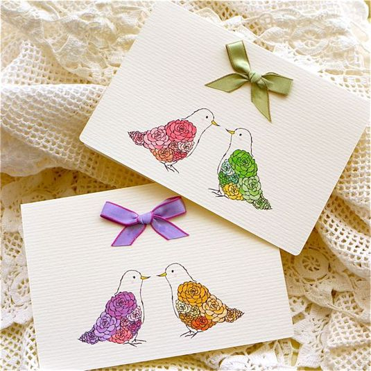 GREETING CARD ROSE DOVE 2PC SET