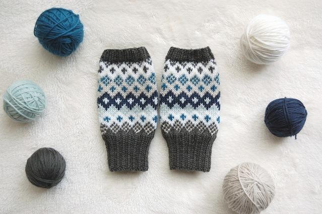 手編みの指なしミトン  【Green&Blue】