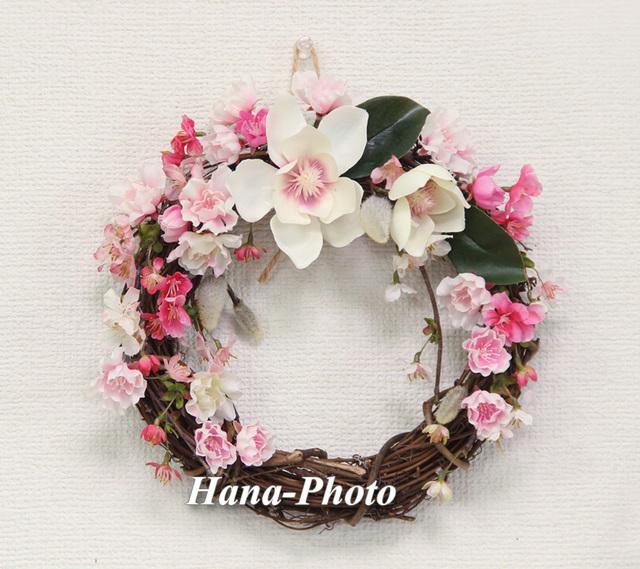 038) マグノリアと桜の春リース