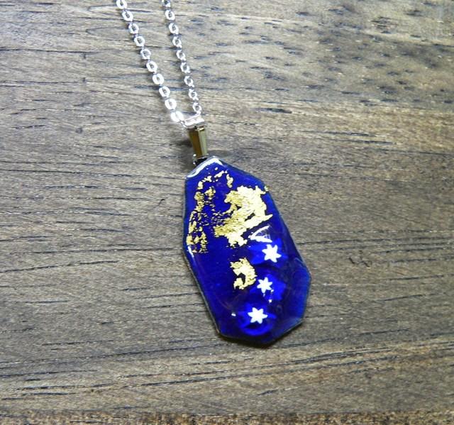 七宝焼・紺青の星と金箔のペンダント