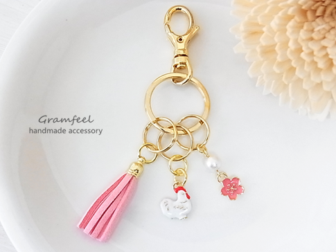 和風 鳥&桜のミニキーホルダー*3連* ...