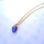 mysterious heart ! gold color chainスワロフスキーネックレス
