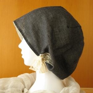 夏に涼しいガーゼ帽子 ダークグレー レースリボン付(CGR-002-G)