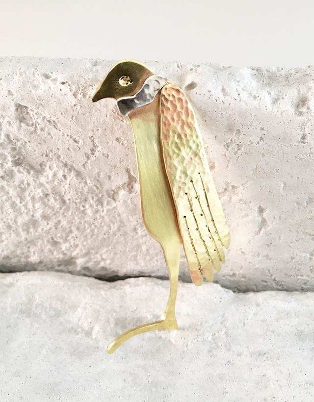 A Bird Gentleman◇真鍮+SVブローチ