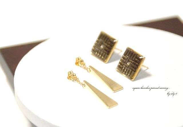square bamboo pierced earring