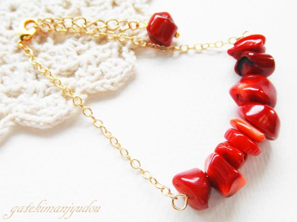 真紅のサンゴのブレスレット