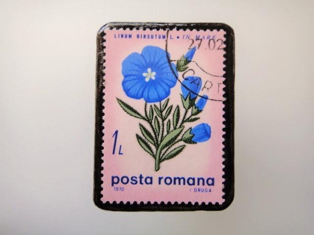 ルーマニア 花切手ブローチ2148