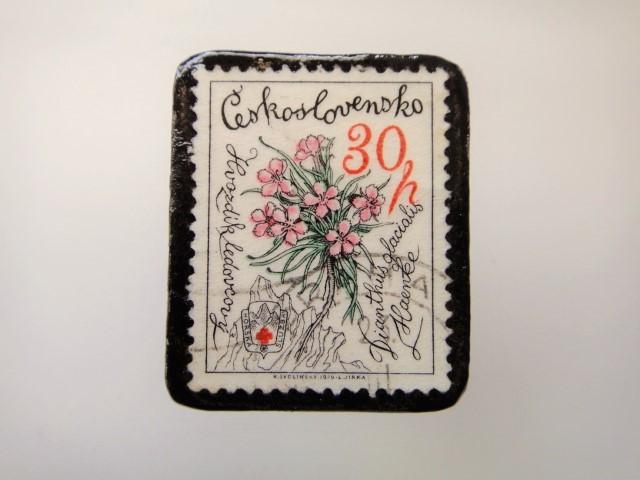 チェコスロバキア 花切手ブローチ2152