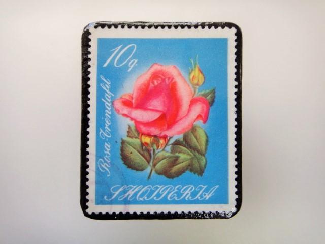 アルバニア 薔薇切手ブローチ2155