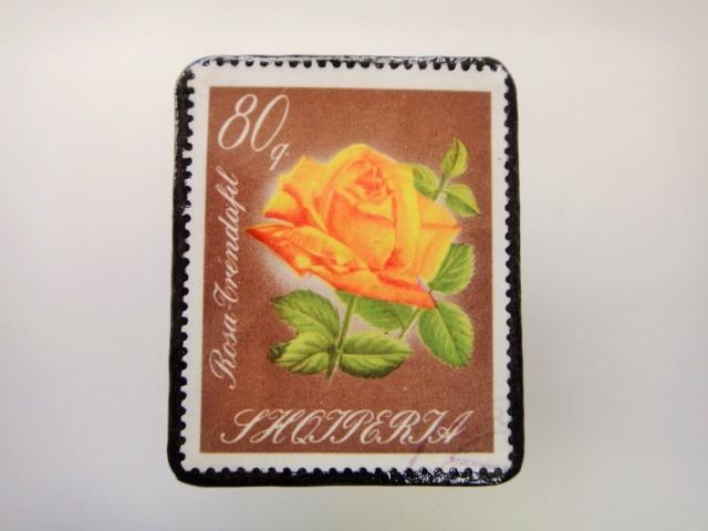 アルバニア 薔薇切手ブローチ2160