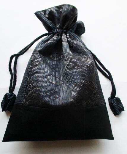 着物リメイク 藍大島で作った巾着袋 ...