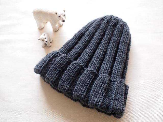 極太リブ編みニット帽【ダークグレー】