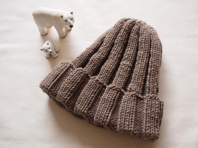 極太リブ編みニット帽【ミルクティー】