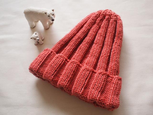極太リブ編みニット帽【スモーキーピンク】