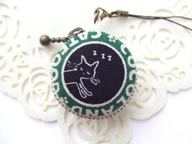 猫/黒&グリーン8/マカロンコインケース...