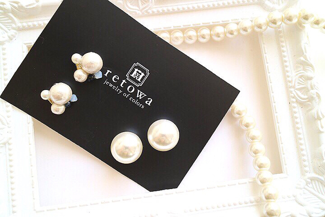 【SALE★2way】 冬のピアス -pearl catch-