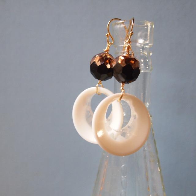 Bronze & white ring earrings