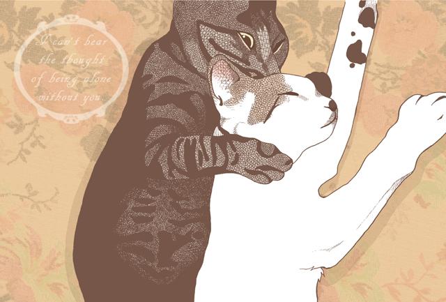 仲良し猫のポストカード2種セット