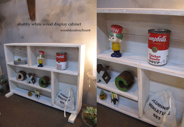 SHABBY★WHITE置き型木製飾り棚