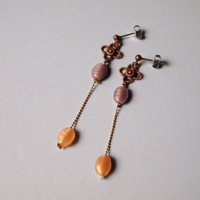 Purple & orange earrings