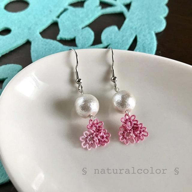 コットンパールとお花のピアス(ピンク)