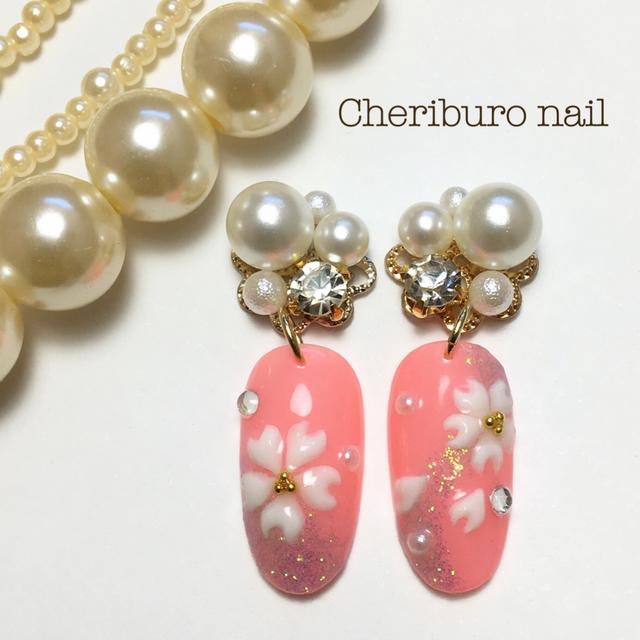 桜ビジューピアス