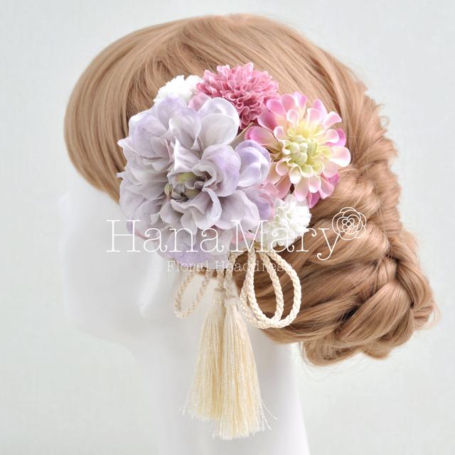 薄紫ダリアの上品な髪飾り