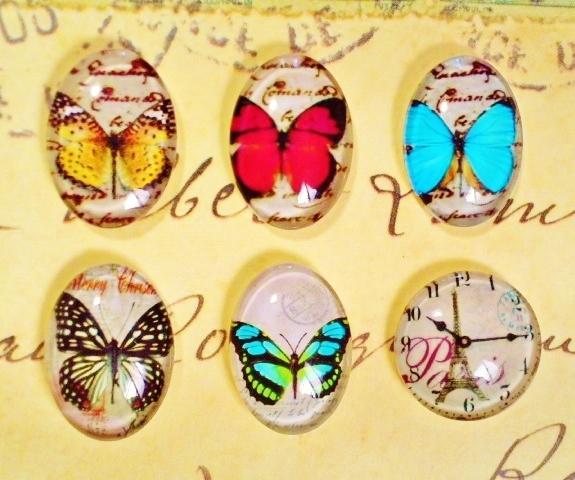 アンティーク風の蝶・時計のヘアピン・リング