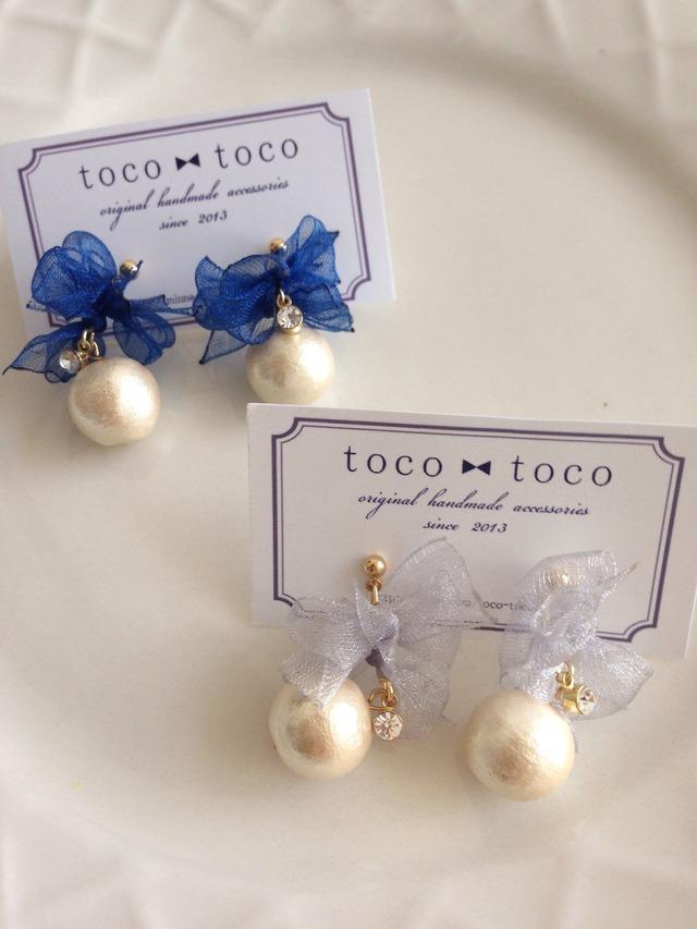 organdie ribbon pierce/earring