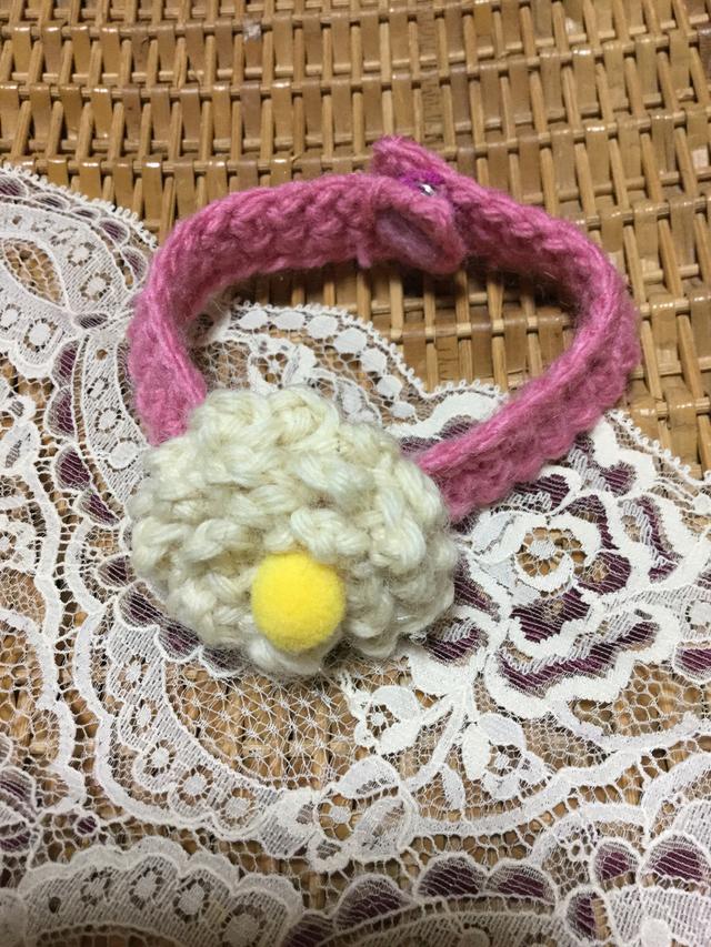 猫ちゃんお花の春色首輪