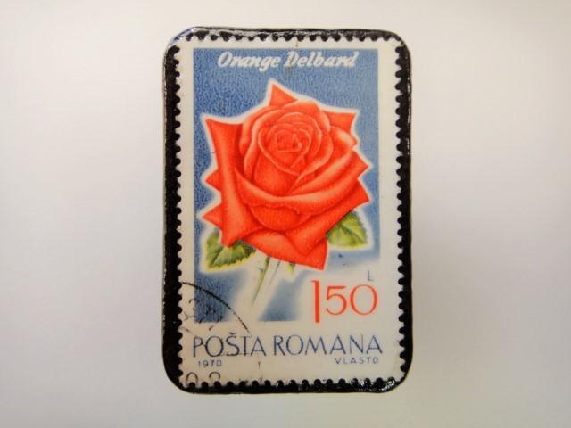 ルーマニア 薔薇切手ブローチ2162