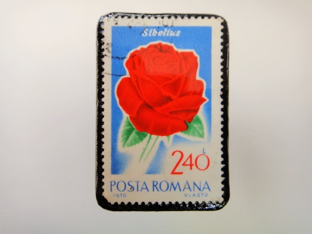 ルーマニア 薔薇切手ブローチ2163